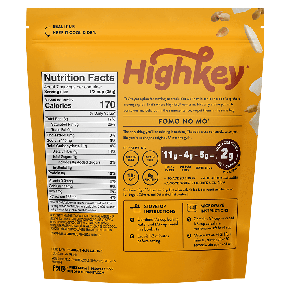Highkey Low Net Carb Breakfast Cocoa Almond Hot Cereal Flavor Falling Ingredients