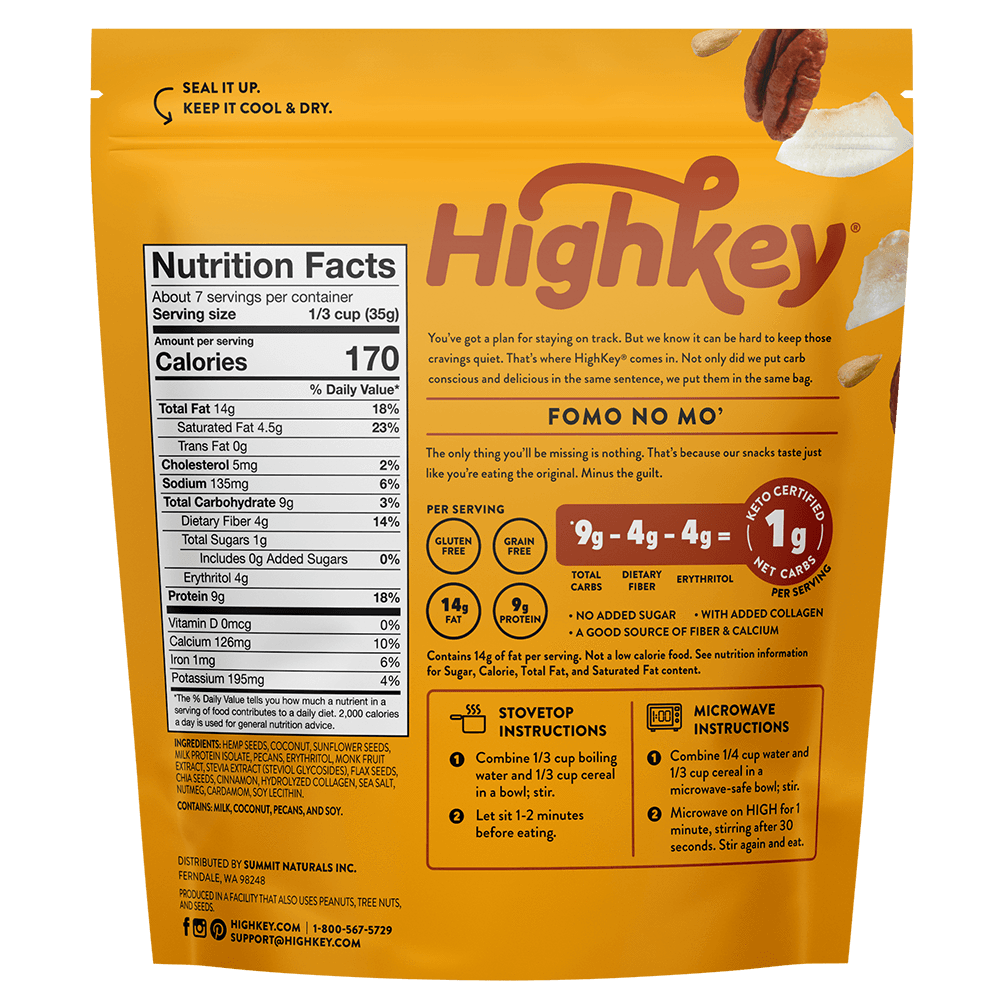 highkey cinnamon spice nutrition facts and ingredients