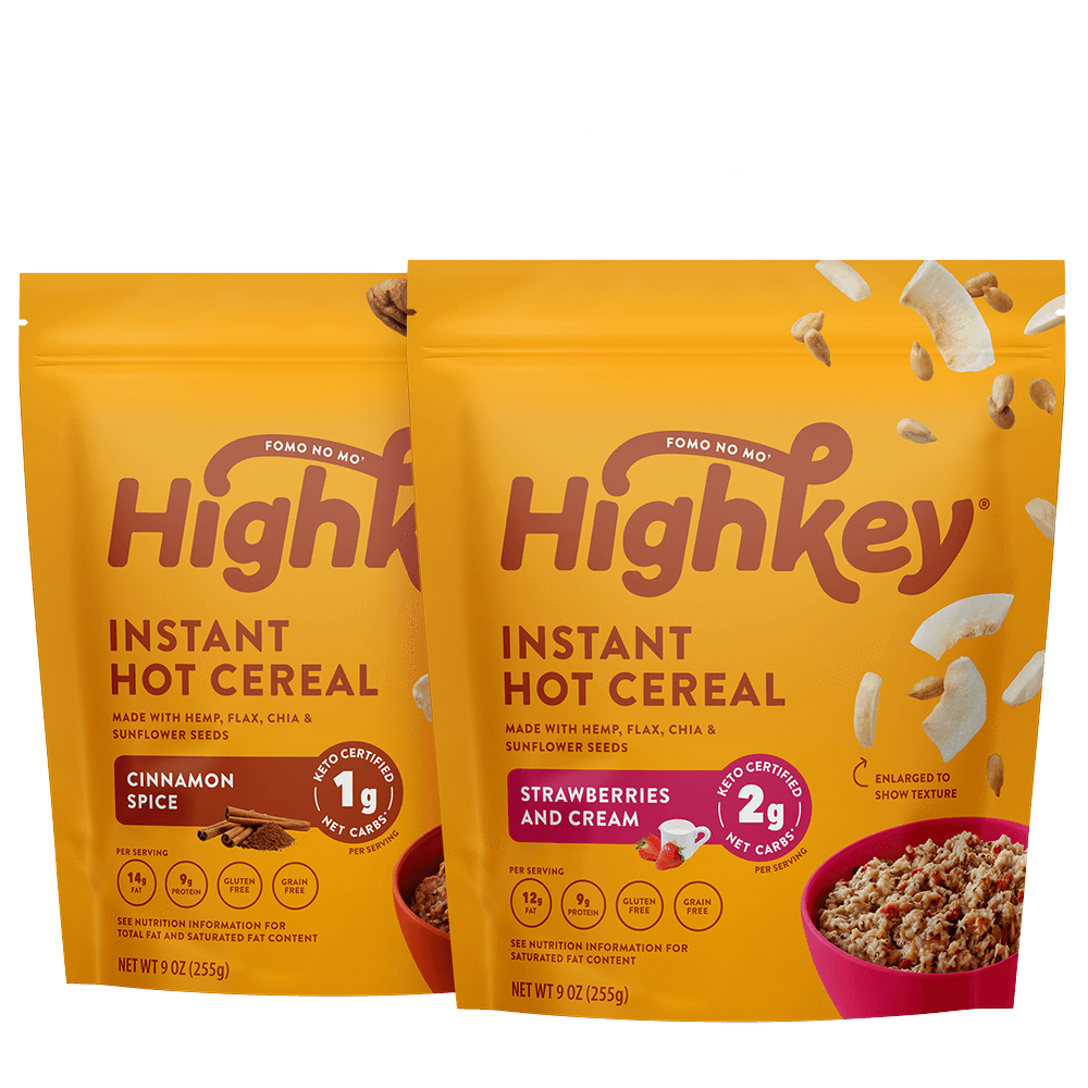 highkey hot cereal bundle cinnamon spice and strawberries & cream flavor 2pk
