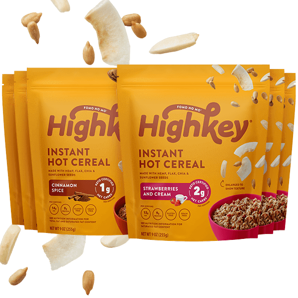 highkey hot cereal bundle cinnamon spice and strawberries & cream flavor 6pk