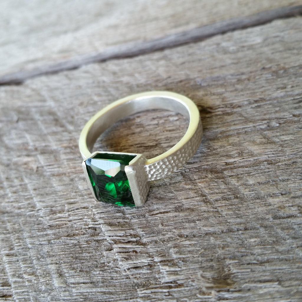 Emerald CZ and Sterling Silver Ring Hand Made by Lora Lee