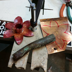 I used copper pipe for the raised center of the flower.