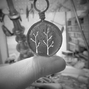 LoraLeeArtist. Trees cut out using a jewelers saw. Handcrafted Jewelry. Ladysmith. Metalsmith