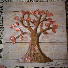 tree, copper, handmade, pallet, wall art, copper art, art, leaves, fold forming, lora lee artist, loraleeartist, recycling, upcycling, creating