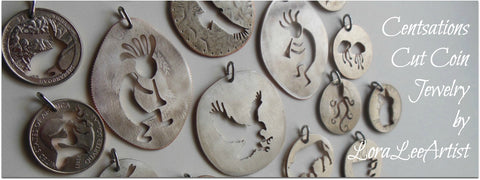 coin jewelry, cut coin jewelry, LoraLeeArtist, coin pendants, coins, Lora Lee Artist