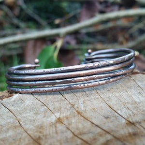 Multi - Strand Hammered Copper Cuff - LoraLeeArtist
