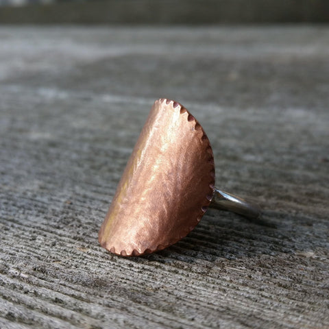 Ivy Textured Copper Ring - LoraLeeArtist