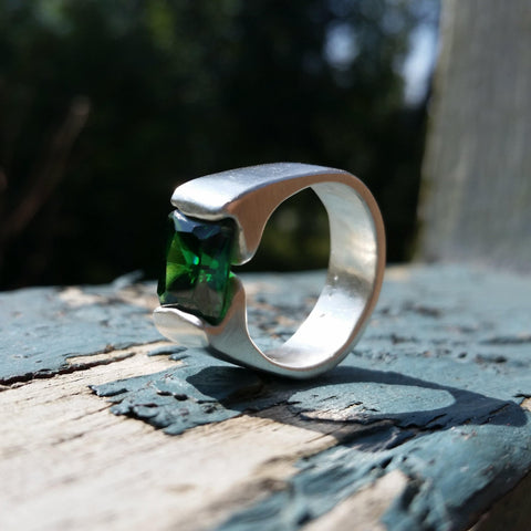 Emerald CZ Sterling Silver Ring - LoraLeeArtist