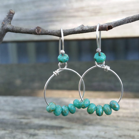 Teal Beaded Silver Earrings