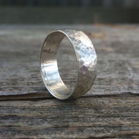 Warrior Hammered Sterling Silver Ring - LoraLeeArtist