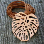 Monstera Copper Necklace