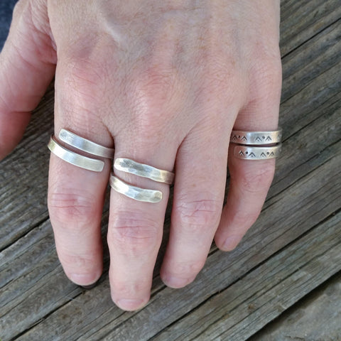Hammered & Smooth Sterling Silver Wrap Rings - Custom - LoraLeeArtist
