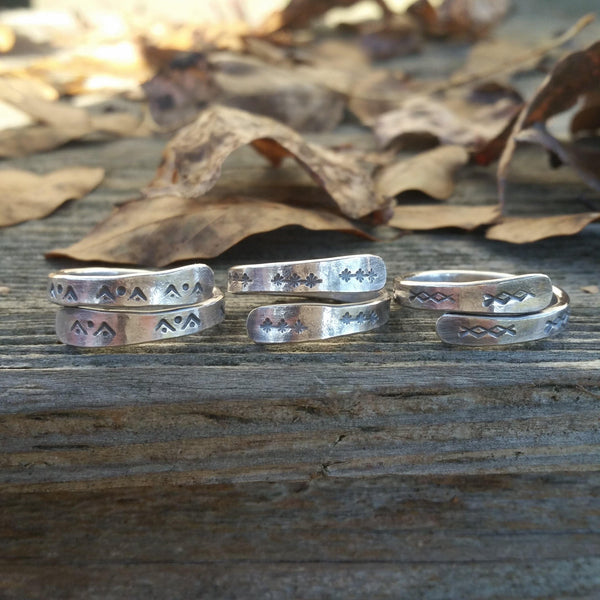 Stamped Silver Wrap Rings - Custom - LoraLeeArtist