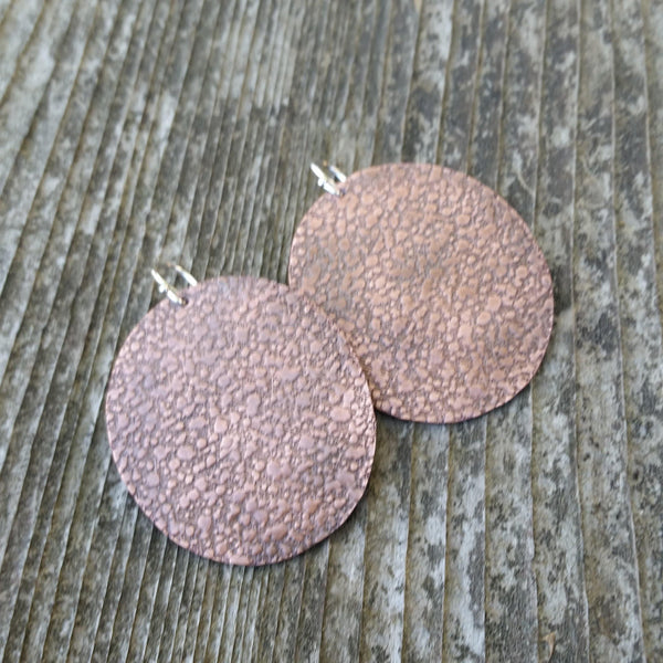 Textured Round Copper Earrings