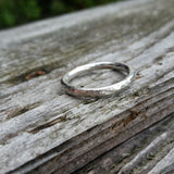 Hammered Sterling Silver Round Ring Band