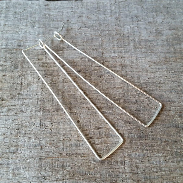 Slim Rectangle Sterling Silver Earrings