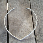 Hammered V Shape Sterling Silver Torque Necklace - Custom Made