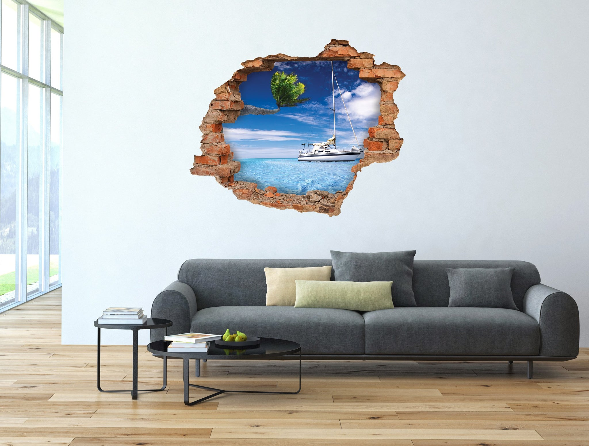 3D Art Wall stickers Palm Boat - 3D028 - Art Life Decor