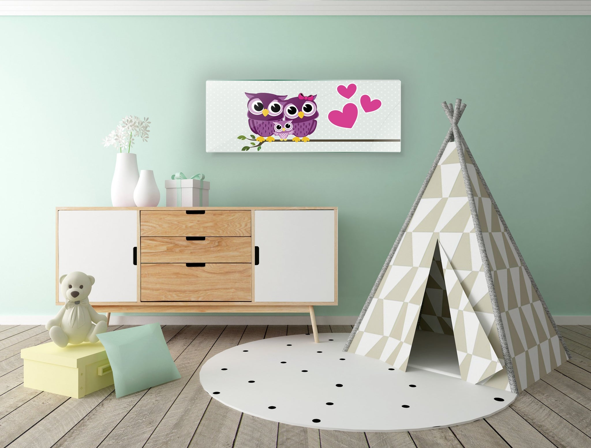 Art wall pictures Happy owls - AP075 - Art Life Decor