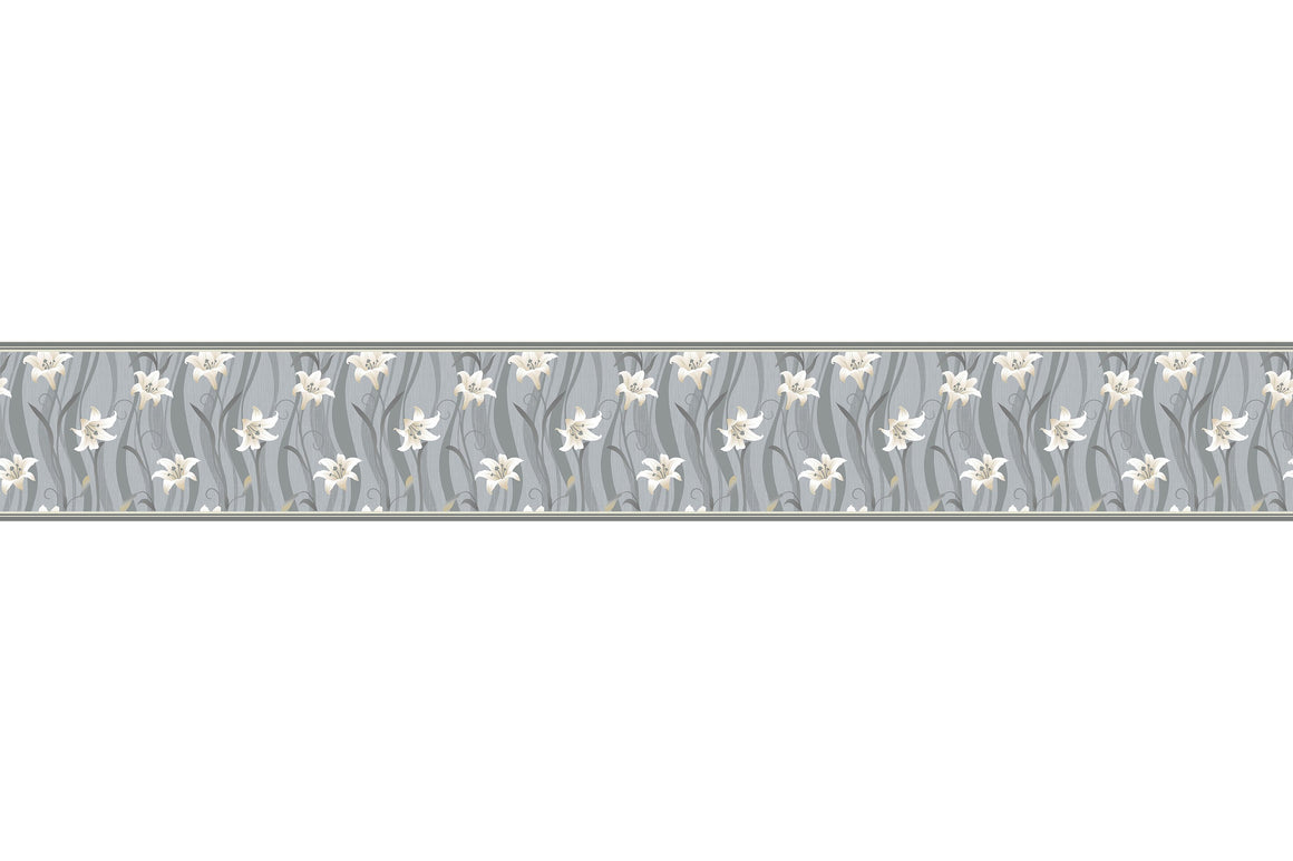Self Adhesive Border   Gray Flower  BR003
