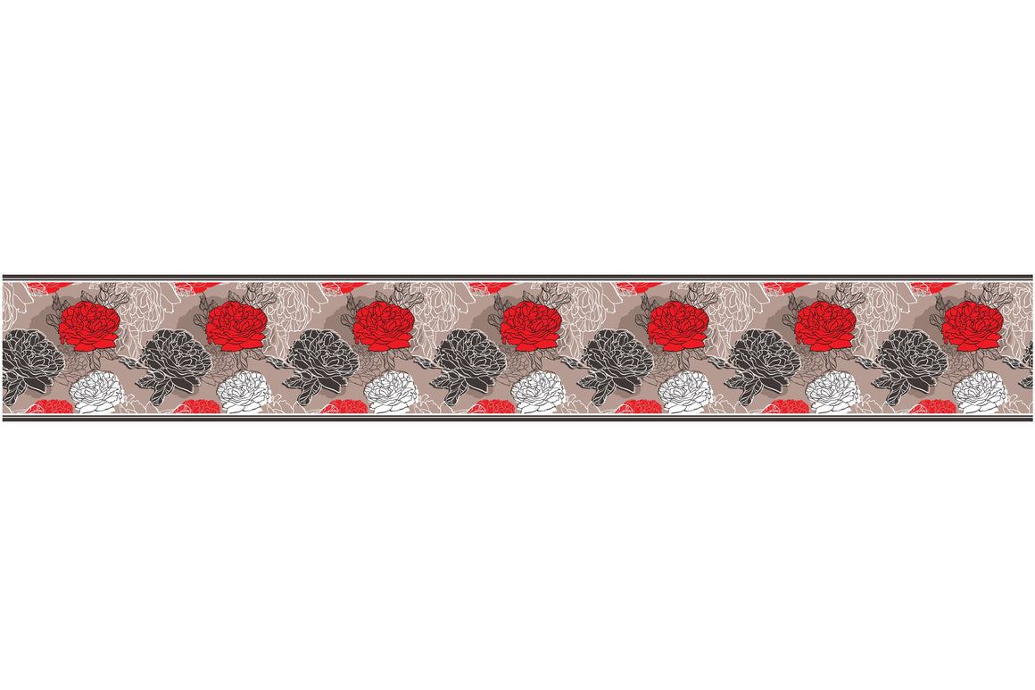 Self Adhesive Border  red roses BR029