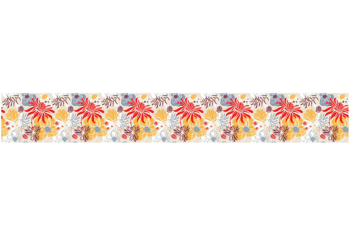 Self Adhesive Border   colorized flowers bush BR022