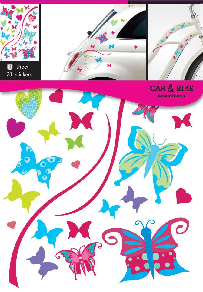 Self-adhesive stickers for a bike or a car - Colorful butterfly