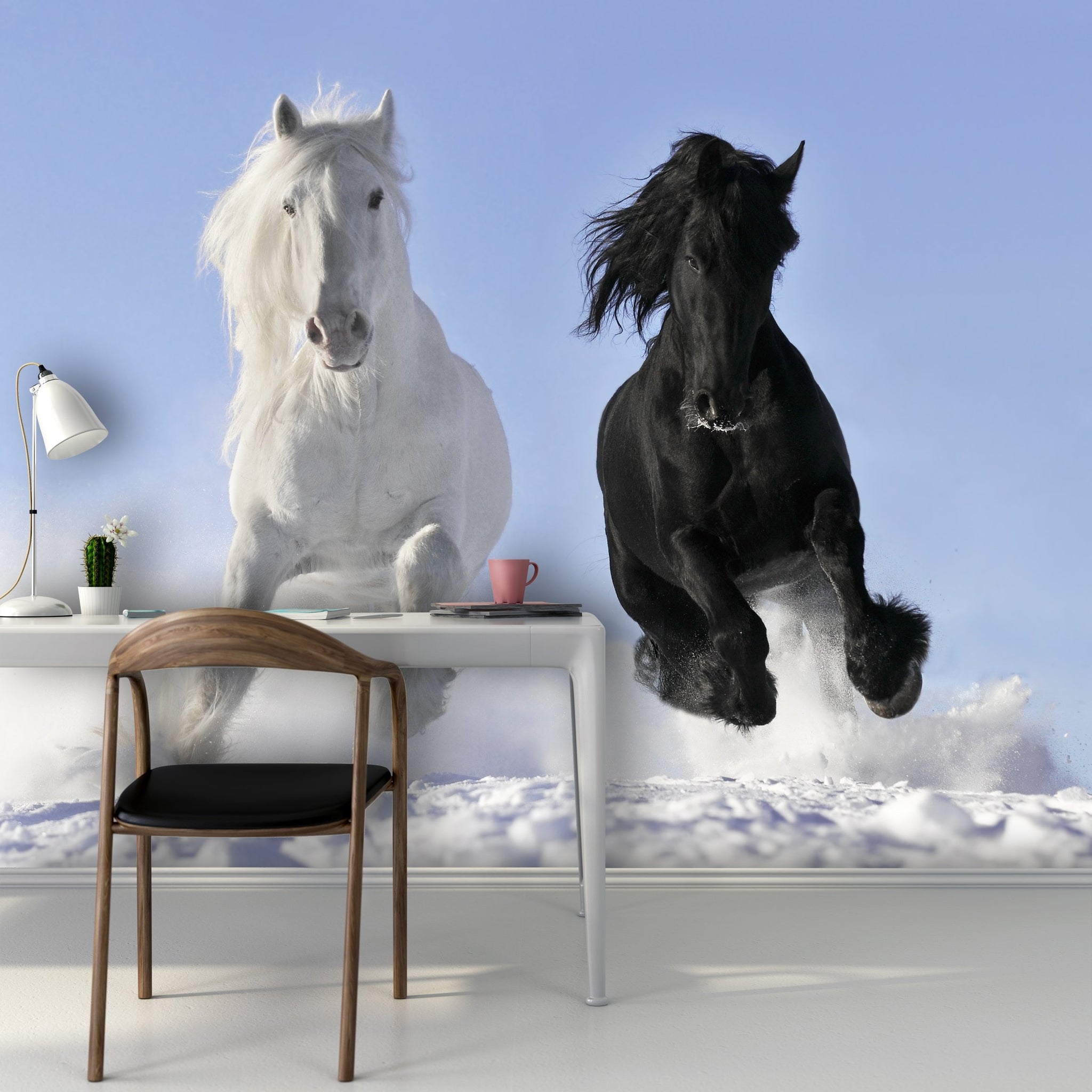 Wallpaper White and black horse SW043