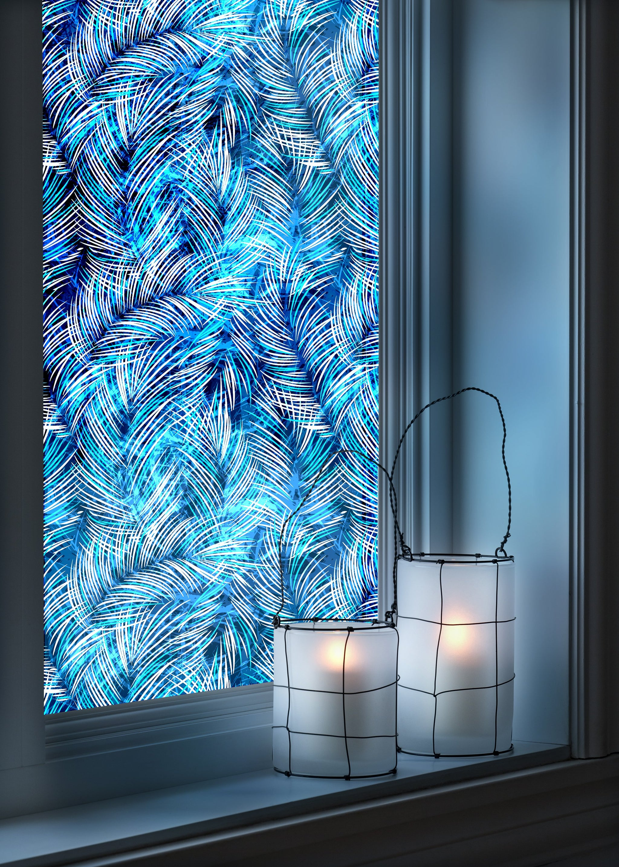 Blue leaves - Windows decoration WL017 - Art Life Decor