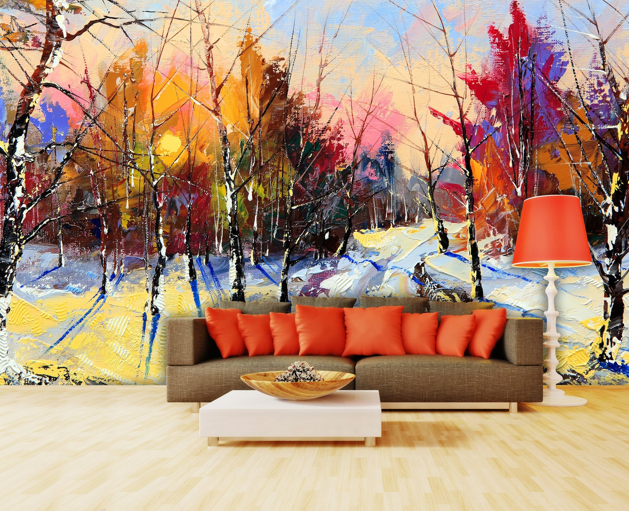 Wallpaper Sunset in winter wood SW189
