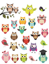 Cute owls - Windows decoration WL033 - Art Life Decor