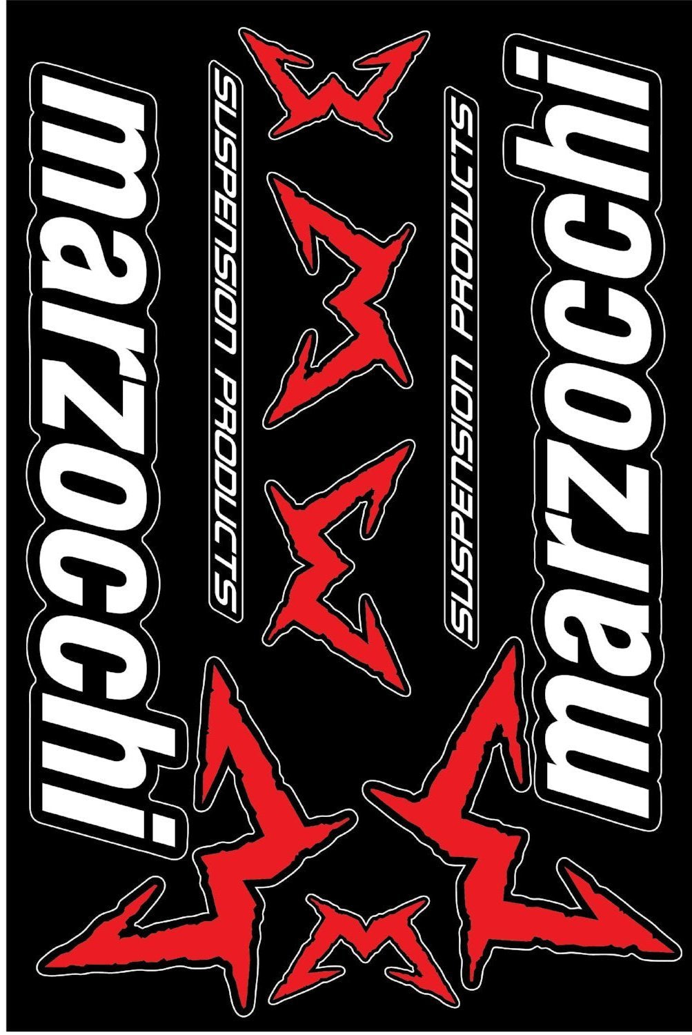 Marzocchi  self-adhesive sticker for a bike - crno crvena