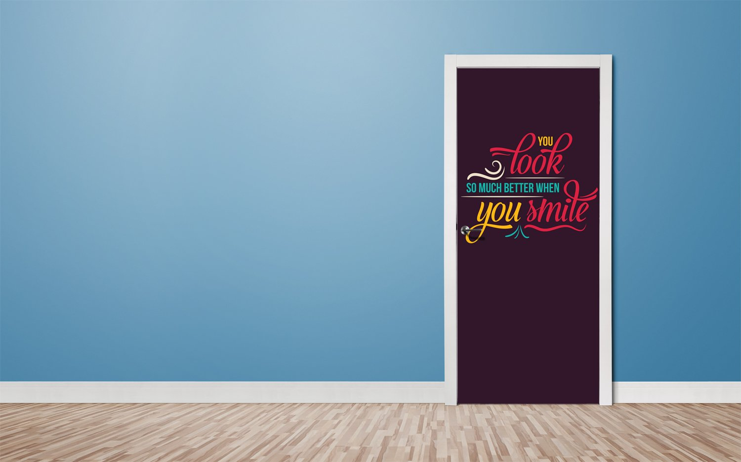 Door stickers Just smile - TA098 - Art Life Decor