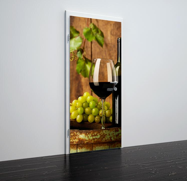 Door stickers Bottle of red vine - TA024 - Art Life Decor