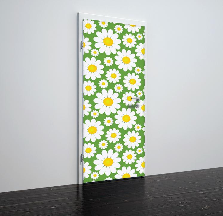 Door stickers Flowers green_bg - TA039 - Art Life Decor