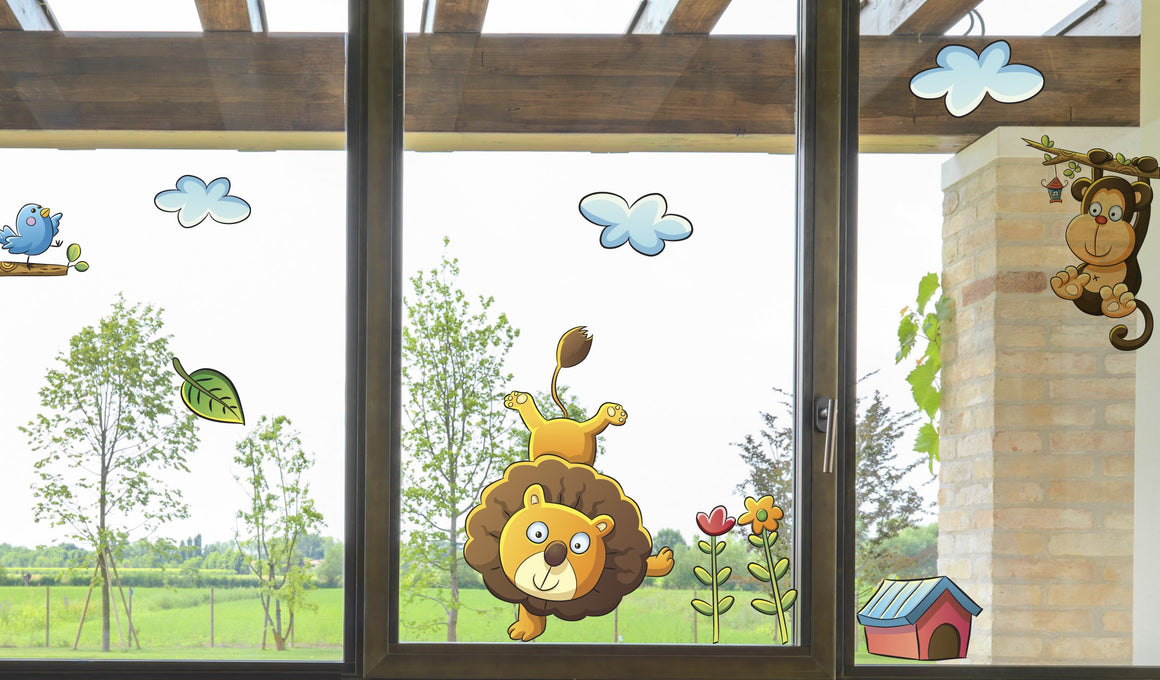 Cute animals - Windows decoration WL046 - Art Life Decor