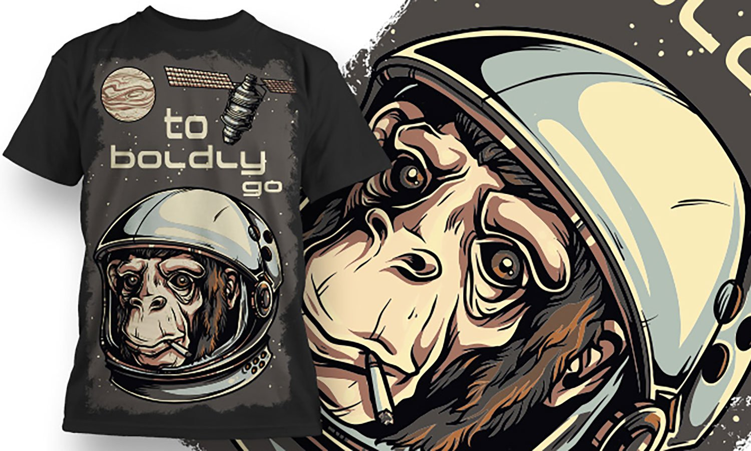 Monkey Space - Printed T-Shirt for Men, Women and Kids - TS375