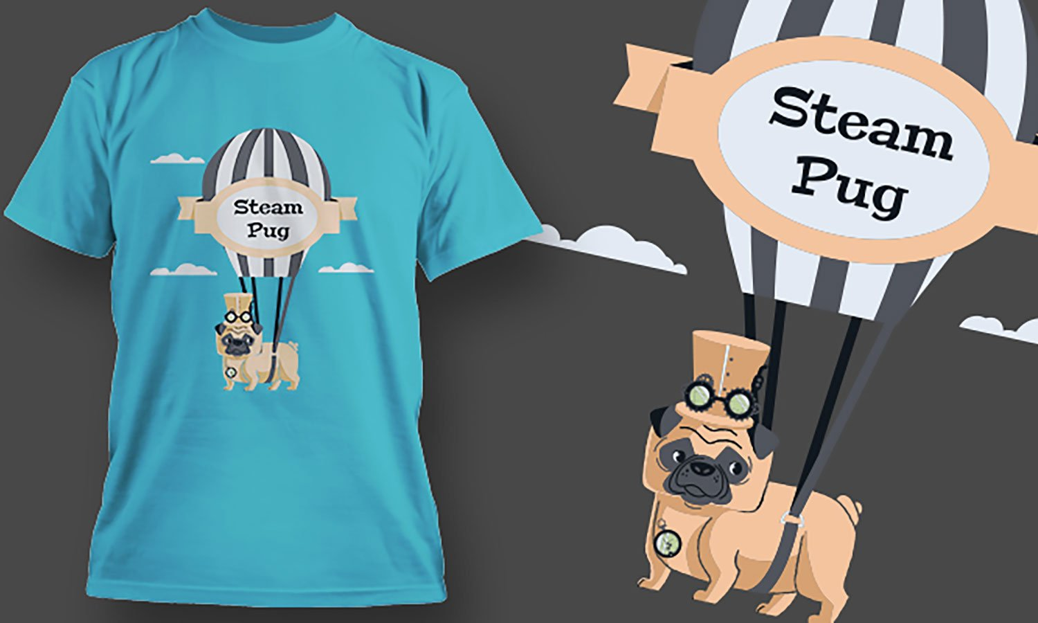Steam Pug - Printed T-Shirt for Men, Women and Kids - TS439