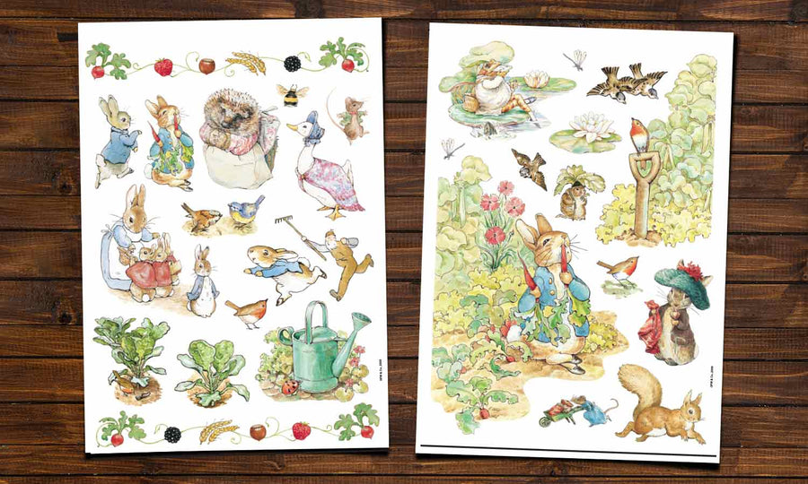 Wall stickers Beatrix Potter illustrations with Peter Rabbit and Jemima Puddle characters ideal for Nursery Wall Decals