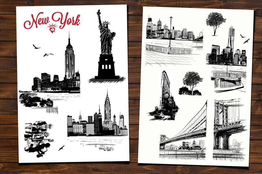 Wall Stickers Gradient City Grills New York Wallpaper