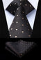 "Black Beige Polka Dot 3.4"" Silk Tie Handkerchief Set by The Belt Giant"