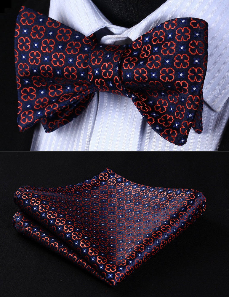 Classic Navy Blue Orange Floral Bow tie