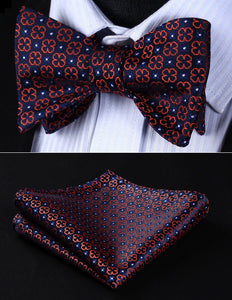 Classic Navy Blue Orange Floral Bow tie by The Belt Giant