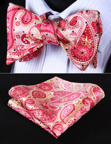 Classic Pocket Square Pink Beige Paisley Bowtie by The Belt Giant