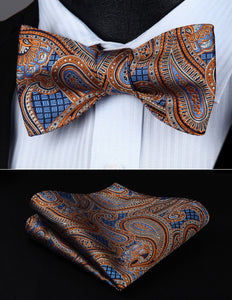 Orange Blue Paisley Men Silk Self  Bow Tie with handkerchief by The Belt Giant