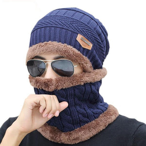 Unisex Knitted Hat And Neck Warmer
