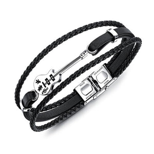 Fashion Guitar Bracelet Black Leather