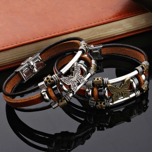 New Fashion Brown Genuine Leather Butterfly Bracelet