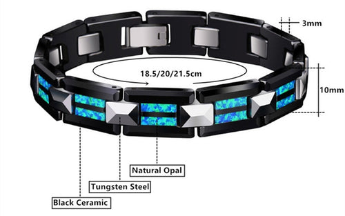 2018 Luxury Natural Opal Tungsten Steel Black Ceramic Bracelet