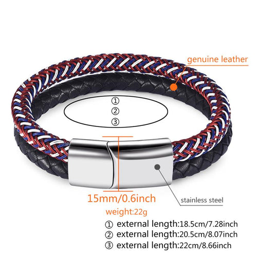 Punk Men Double Braided Leather Bracelet Stainless Steel Magnetic